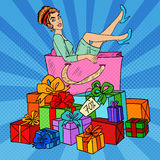 Pop Art Happy Woman in Big Shopping Bag with Huge Gift Boxes Royalty Free Stock Photography