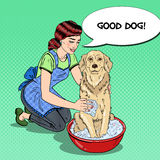 Pop Art Happy Woman Washing Dog Royalty Free Stock Photo