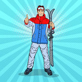 Pop Art Happy Young Man on Ski Holidays Gesturing Thumb Up. Vector illustration Royalty Free Stock Photo
