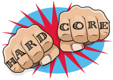 Pop Art Hard Core Tattoo Fists. Royalty Free Stock Images