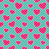 Pop-Art Hearts. Seamless colorful pattern with pink hearts on blue background, vector illustration, polka-dot Stock Image