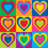 Pop Art Hearts. Vector illustration of colorful hearts in a checkerboard design. Can be used as a seamless pattern Stock Photography