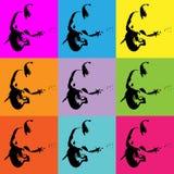 Pop-art heldere digitale achtergrond met gitaarspeler Stock Fotografie