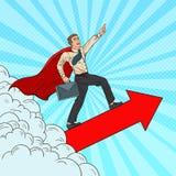 Pop Art Hero Super Businessman Flying royaltyfri illustrationer