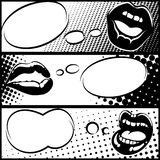 Pop art horizontal lip banners Royalty Free Stock Image