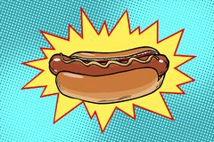 Pop art hot dog fast food Royalty Free Stock Photography
