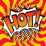 Pop Art HOT! Text Design. Pop Art-styled cartoon HOT! text design with halftone effects on a wavy background Royalty Free Stock Photo