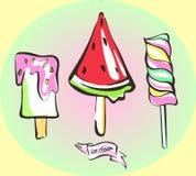 Pop Art Ice Cream Vector Set Zorgvuldig Gedetailleerde Voorwerpen Royalty-vrije Stock Foto