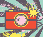 Pop art illustration with abstract photocamera . Royalty Free Stock Photography