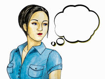 Pop Art illustration of brunette woman with the speech bubble. Stock Photography