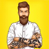 Pop art illustration of a brutal bearded man, macho with tattoo. Pop art illustration of a brutal bearded man, macho with tatoo folded his arms over his chest Stock Photo