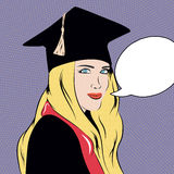 Pop art illustration with educated girl made in . Stock Photo
