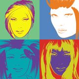Pop art illustration. Fashion girls in the pop art style. Pop art illustration. Lovely woman faces on a multicolored background. Fashion girls in the pop art Royalty Free Illustration