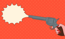 Pop art illustration with  female hand with a gun Royalty Free Stock Photos