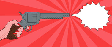 Pop art illustration with  female hand with a gun. With bubble shot for your creativity Stock Images