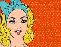 Pop Art illustration of girl with blonde hair Royalty Free Stock Photography