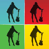Pop art illustration of girl with guitar Stock Images