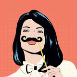 Pop art illustration with girl holding mustache mask. Woman with black hair and blue eyes in comics style pin up Royalty Free Stock Photography