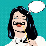 Pop art illustration with girl holding mustache. Stock Images