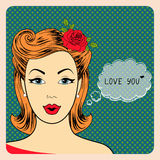 Pop Art illustration of girl with the speech Royalty Free Stock Photography