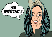 Pop Art illustration of girl with the speech bubble Royalty Free Stock Photos