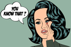 Pop Art illustration of girl with the speech bubble.  Royalty Free Stock Image