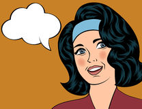 Pop Art illustration of girl with the speech bubble. Stock Image