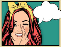 Pop Art illustration of girl with the speech bubble.Pop Art girl Stock Image