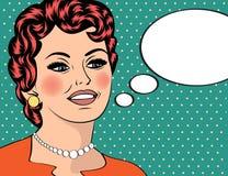 Pop Art illustration of girl with the speech bubble.Pop Art girl Stock Images