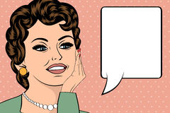 Pop Art illustration of girl with the speech bubble.Pop Art girl Royalty Free Stock Images