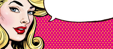 Pop Art illustration of girl with the speech bubble.Pop Art girl royalty free illustration