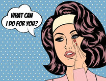 Pop Art illustration of girl with the speech bubble.  Stock Images