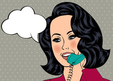 Pop Art illustration of girl with the speech bubble.  Royalty Free Stock Images