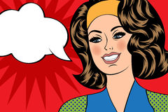 Pop Art illustration of girl with the speech bubble.  Stock Photos