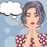 Pop Art illustration of girl with the speech bubble Stock Image