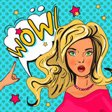 Pop Art illustration of girl with the speech bubble Royalty Free Stock Images