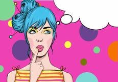 Pop Art illustration of girl Stock Photo