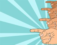 Pop art illustration of hand pointing to important information. Pay attention to yout text or ad Stock Image