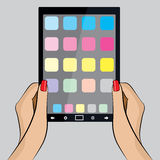 Pop Art Illustration of a hand with a Tablet PC Stock Image