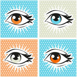 Pop art illustration of human eye and lashes on dot background. Pop art Royalty Free Stock Photos