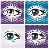 Pop art illustration of human eye and lashes on dot background. Retro Stock Images
