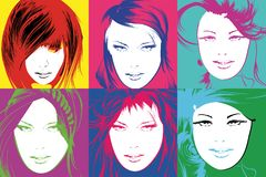 Pop art illustration. Lovely woman faces. On a multicolored background. Fashion girls in the pop art style Royalty Free Illustration