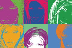 Pop art illustration. Fashion girls in the pop art style. Pop art illustration. Lovely woman faces on a multicolored background. Fashion girls in the pop art Stock Illustration