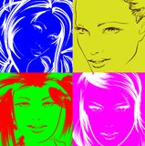 Pop art illustration. Lovely woman faces. On a multicolored background. Fashion girls in the pop art style Vector Illustration