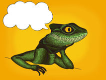 Pop Art illustration of Profile Lizard with thought bubble Royalty Free Stock Photo