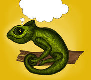 Pop Art illustration of Profile Lizard with thought bubble Stock Photography