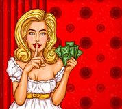 Pop art illustration of a sexy girl holding her finger on her lips and asking for silence. Pop art illustration of a sexy girl with money in hand holding her Royalty Free Stock Photos