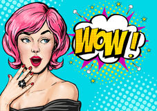 Pop Art illustration, surprised girl.Comic woman. Wow.Advertising poster. Pop Art girl. Birthday greeting card. Advertising poster Stock Image