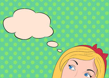 Pop Art illustration thoughtful girl Stock Photography