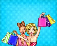 Pop art illustration of two young glamorous enthusiastic girls show shopping bags with their purchases. Poster for the advertising discounts and sales Royalty Free Stock Images